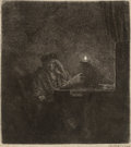 Prints & Multiples, Rembrandt van Rijn (Dutch, 1606-1669). A student at a table by candlelight, c. 1642. Etching on laid p...