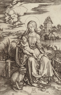 Albrecht Dürer (German, 1471-1528) The Virgin and Child with the monkey, circa 1498 Engraving on lai