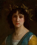 Paintings, William Adolphe Bouguereau (French, 1825-1905). Tête d'Italienne avec une couronne de laurier (Head of an Italian girl wit...