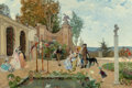 Paintings, Lorenzo Valles (Spanish, 1831-1910). At the Villa Borghese, 1876. Oil on canvas. 27 x 40-3/4 inches (68.6 x 103.5 cm). S...