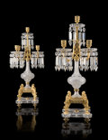 Glass, An Important Pair of Baccarat Cut Glass and Gilt Bronze Five-Light Candelabra, France, late 19th century. Marks to fixing bo... (Total: 2 Items)