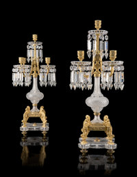 An Important Pair of Baccarat Cut Glass and Gilt Bronze Five-Light Candelabra, France, late 19th century Marks to fixing...