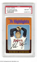 Baseball Cards:Singles (1970-Now), 1975 TOPPS '74 HIGHLIGHTS #5 RYAN FANS 300 NM/MT PSA 8. ...