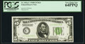 Fr. 1952-C $5 1928B Dark Green Seal Federal Reserve Note. PCGS Very Choice New 64PPQ