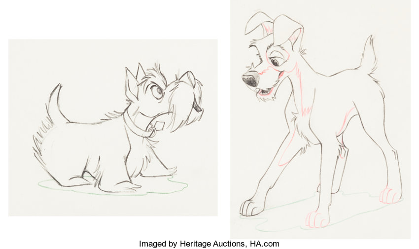 Lady And The Tramp Jock And Tramp Animation Drawings Group Of 2 Lot 99679 Heritage Auctions