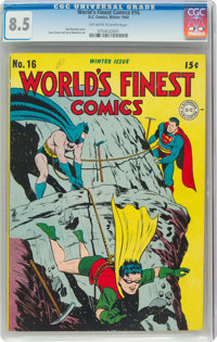 World's Finest Comics #16 (DC, 1944) CGC VF+ 8.5 Off-white to white pages