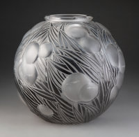 R. Lalique Enameled Frosted Glass Oranges Vase, circa 1926 Marks: R. LALIQUE 11-3/8 inches (29 cm), M. p