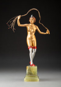 In the Manner of Brúno Zach (German/American, 1891-1935) Figure of a Female Nude with Whip, circa 1920<