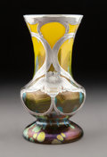 Glass, Loetz Cystisus Glass Vase with Alvin Silver Overlay, circa 1902. Marks: 999/1000 FINE, (cartouche-A), 113...