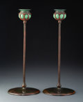 Metalwork, A Pair of Tiffany Studios Patinated Bronze and Glass Candlesticks, circa 1910. Marks: TIFFANY STUDIOS, NEW YORK. 14 x 5-... (Total: 2 Items)