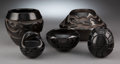American Indian Art:Pottery, Five Santa Clara Carved Blackware Pottery Items... (Total: 5 )