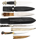Edged Weapons:Knives, Lot of Four (4) Modern Knifes, Interesting Styles and Patterns.. ... (Total: 4 Items)
