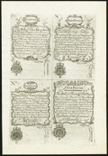 Colonial Notes:New Hampshire, New Hampshire April 1, 1737 Redated August 7, 1740 £5/100s-£2/40s-£3/60s-£1/20s Cohen Reprint Uniface Uncut Sheet Choice New....