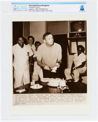 "AP Original Wirephotos: ""Anyone for Cake?"" August 6, 1969, Directly From The Armstrong Family Collection™, CAG..."
