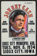 """Movie Posters:Musical, Johnny Cash In Person (1974). Very Fine-. Sioux City Municipal Auditorium Concert Window Card (13.5"""" X 20.5""""). Musical.. ..."""