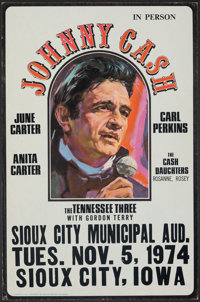 """Johnny Cash In Person (1974). Very Fine-. Sioux City Municipal Auditorium Concert Window Card (13.5"""" X 20.5"""")..."""