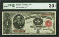 Large Size:Treasury Notes, Fr. 352 $1 1891 Treasury Note PMG Very Fine 30 EPQ.. ...