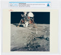 """Explorers:Space Exploration, Apollo 11: Original NASA """"Red Number"""" Color Photo of Buzz Aldrin Deploying the Early Apollo Scientific Experiments on the Luna..."""