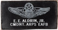 Explorers:Space Exploration, Buzz Aldrin's Edwards Air Force Base Aerospace Research Pilot School Commandant Leather Name Tag Originally from His Perso...