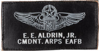 Buzz Aldrin's Edwards Air Force Base Aerospace Research Pilot School Commandant Leather Name Tag Originally from His Per...