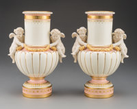 A Pair of Mintons Partial Gilt Porcelain Vases for Tiffany and Co., England, 20th century Marks: (crown over globe