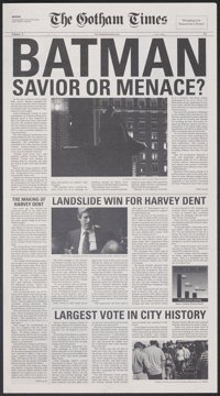 "The Dark Knight (Warner Bros., 2008). Folded, Very Fine/Near Mint. Promotional Newspapers (2) Identical (12.5"" X 22..."