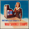 """Movie Posters:War, World War II Propaganda (U.S. Government Printing Office, 1942). Rolled, Fine/Very Fine. War Savings Stamps Poster (20"""" X 20..."""