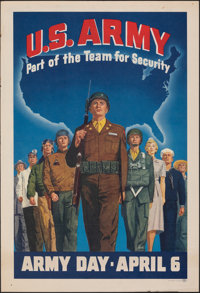 "Army Day (c. Late 1940s). Rolled, Fine/Very Fine. Poster (17"" X 25"") ""Part of the Team for Security.""..."