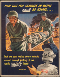 "World War II Propaganda (Alcoa, 1940s). Folded, Fine/Very Fine. Industry Poster (25"" X 32"") ""Time Out for..."