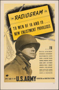 "Movie Posters:War, World War II Propaganda (1943). Rolled, Fine. Army Recruitment Poster (25"" X 38.5""). War.. ..."