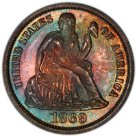 1869 10C PR66 PCGS. PCGS Population: (8/1 and 2/0+). NGC Census: (6/4 and 1/0+). CDN: $950 Whsle. Bid for NGC/PCGS PR66...