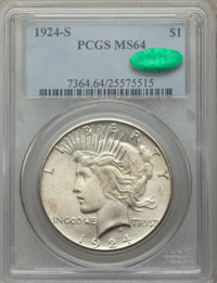 1924-S $1 MS64 PCGS. CAC. PCGS Population: (1408/108). NGC Census: (879/76). CDN: $725 Whsle. Bid for NGC/PCGS MS64. Min...