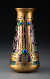 Kralik Oil Spot Glass Vase with Copper Overlay and Applied Cabochon, circa 1900 8