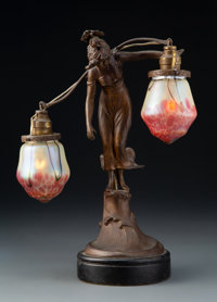 Austrian Two-Arm Glass and Metal Figural Lamp, early 20th century Marks: ST LUCIA 10-3/4 inches (27