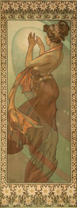 Prints & Multiples, Alphonse Mucha (Czech, 1860-1939). Étoile polaire, 1902. Lithograph in colors on paper, trimmed. 34-1/8 x 15-7/8 inches ...