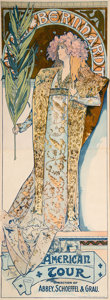 Prints & Multiples, Alphonse Mucha (Czech, 1860-1939). Sarah Bernhardt/ American Tour, 1896. Lithograph in colors on paper. 76 x 27 inches (...