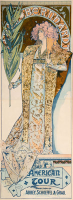 Alphonse Mucha (Czech, 1860-1939) Sarah Bernhardt/ American Tour, 1896 Lithograph in colors on paper 76 x 27 inches (