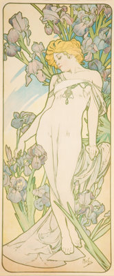 Alphonse Mucha (Czech, 1860-1939) Iris, 1898 Lithograph in colors on paper 42 x 18 inches (106.7