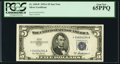 Small Size:Silver Certificates, Fr. 1656* $5 1953A Silver Certificate. PCGS Gem New 65PPQ.. ...