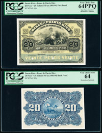 Puerto Rico Banco De Puerto Rico 20 Pesos = 20 Dollars ND (ca. 1901-04) Pick 43p Face and Back Proofs PCGS Very Choice N...