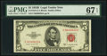 Fr. 1534 $5 1953B Legal Tender Note. PMG Superb Gem Unc 67 EPQ