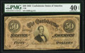 Confederate Notes:1864 Issues, T66 $50 1864 PF-12 Cr. 501 PMG Extremely Fine 40 EPQ.. ...
