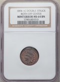 Errors, 1894 1C Indian Cent -- Double Struck, Both Strikes Off-Center -- MS64 Brown NGC....
