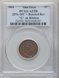 Errors, 1864 1C Indian Cent, L On Ribbon -- 25% Off-Center, Rotated Reverse -- AU58 PCGS. (The PCGS number on the holder is erran...