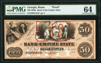Rome, GA- Bank of the Empire State $50 18__ as G12a Proof PMG Choice Uncirculated 64