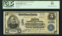 Garden Grove, CA - $5 1902 Plain Back Fr. 606 The First National Bank Ch. # 11251 PCGS Fine 15
