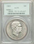 Coins of Hawaii , 1883 $1 Hawaii Dollar AU55 PCGS. Old green label holder. PCGS Population: (54/152). NGC Census: (67/123). CDN: $1,300 Whsle...