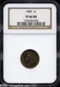 Proof Indian Cents: , 1868 PR 66 Red and Brown NGC. ...