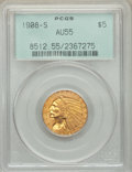 Indian Half Eagles, 1908-S $5 AU55 PCGS. Old green label holder. PCGS Population: (45/385). NGC Census: (111/357). CDN: $1,300 Whsle. Bid for N...