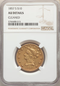 1857-S $10 -- Cleaned -- NGC Details. AU. Mintage 26,000. ...(PCGS# 8624)